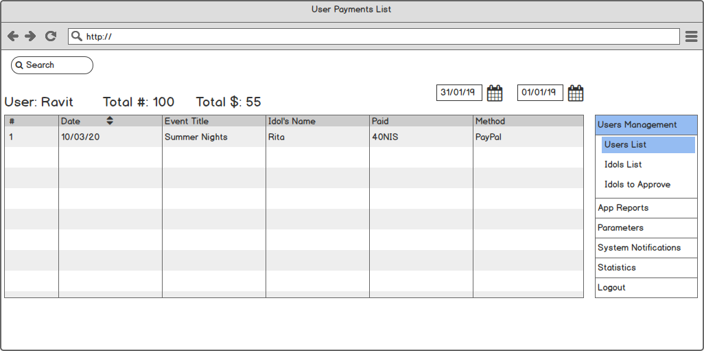 User-Payments-list
